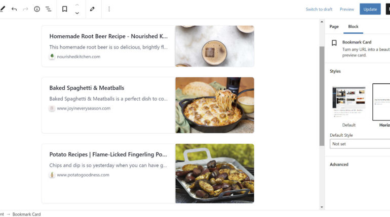 Beliebige URL in WordPress einbetten mit dem Bookmark Card Block
